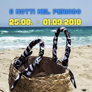6 giorni nel periodo dal 25 agosto al 1 settembre 2018
